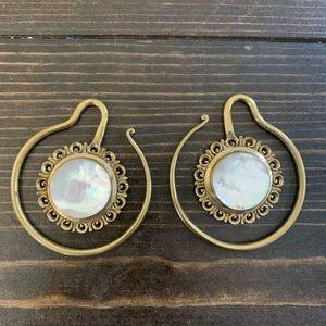 Brass mother of pearl earrings ear weights tribal